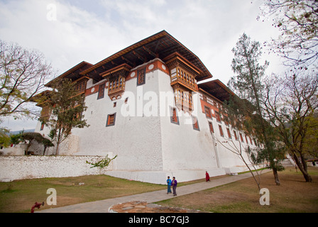 Punakha Dzong Monastery fortress with monks .Horizontal  91607 Bhutan-Punakha - Stock Photo
