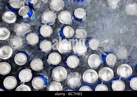 beverage cans in ice - Stock Photo