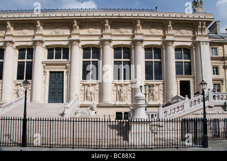 the palais de justice palace of justice government court building in paris france in a fish eye wide angle view - Stock Photo