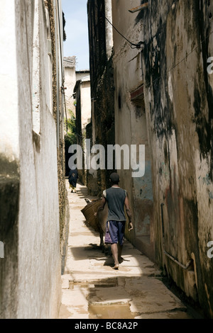 Street Scene Lamu Town - Lamu Island, Kenya - Stock Photo
