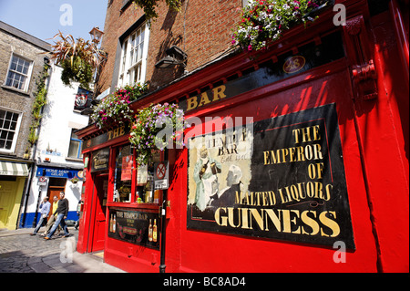 Guinness sign on Temple Bar pub Dublin Republic of Ireland - Stock Photo