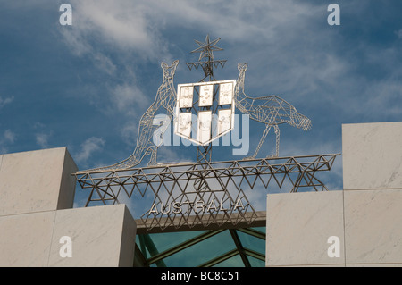 Coat of Arms above the entrance into the New Parliament House, Canberra, ACT, Australia - Stock Photo