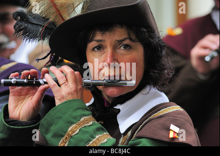 Piccolo player playing in a military band in Geneva's Escalade festival - Stock Photo