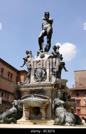 neptune fountain piazza del nettuno bologna italy - Stock Photo