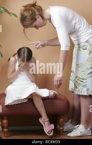 Stressed mother discipline frightened daughter  - SerieCVS417224 - Stock Photo