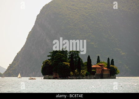 Isola di San Paolo Isle of St Paul on Lake Iseo Lombardy Italy on a hot summers day - Stock Photo