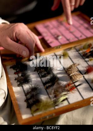 Artificial flies for fishing - Stock Photo