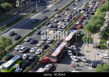 Traffic jam in Beijing, China. 2009 - Stock Photo