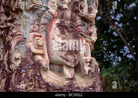 STELA D dated to 736 AD depicts a figure with a short beard a sign of youth COPAN RUINS HONDURAS - Stock Photo