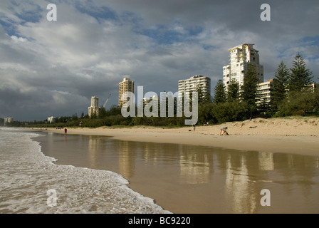 High rise buildings beside beach, Miami Beach, Surfers Paradise, Queensland, Australia - Stock Photo
