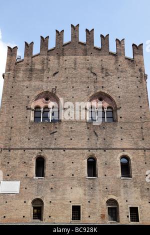 facade of palazzo re enzo piazza del nettuno bologna italy - Stock Photo