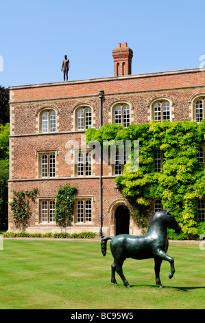 Jesus College Cambridge, with sculpure on the college roof, part of an exhibition in summer 2009, Cambridge England - Stock Photo