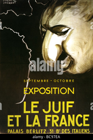 GERMAN poster advertising an anti Semitic exhibition in Paris in 1943 - Stock Photo