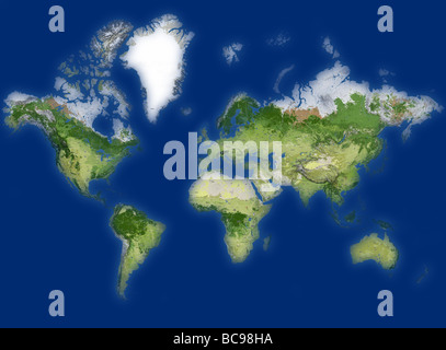 world map in blue background - Stock Photo