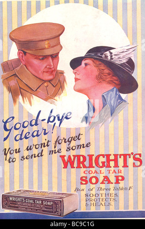 World War One advertisement for Wright's Coal Tar Soap 1915 - Stock Photo