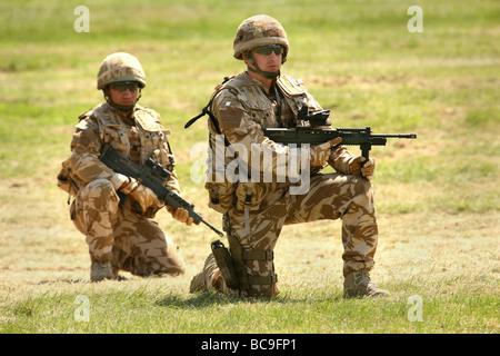 British Army infantry on exercise in UK - Stock Photo