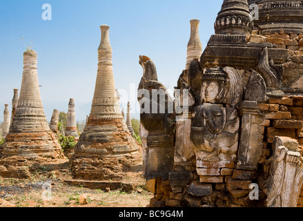 View of the relief on an old temple in front of the ruins of Indein in Myanmar - Stock Photo