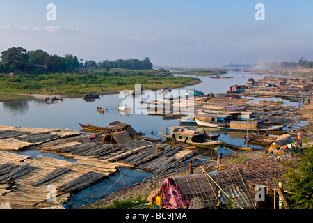 Old harbour of Irrawaddy river in Mandalay, Myanmar - Stock Photo