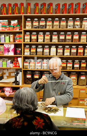 Chinese drugstore in Chinatown Vancouver City Canada North America - Stock Photo