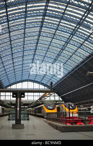 Eurostar trains at St. Pancras Station, London, England - Stock Photo