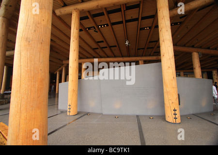 Wooden columns inside theCraig Thomas Discovery & Visitor Center in Grand Teton National Park, Wyoming - Stock Photo