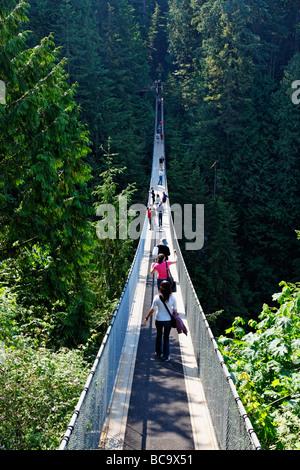 Lynn Canyon Capilano Suspension Bridge Vancouver Canada North America - Stock Photo