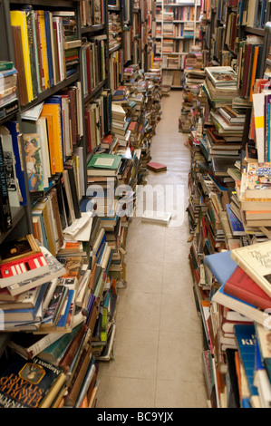 Books in Gould's secondhand bookshop on King Street, Newtown, Sydney, NSW, Australia - Stock Photo