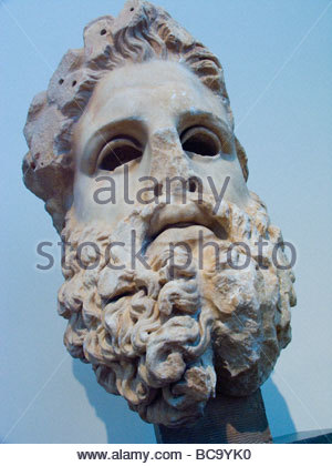 Head of Zeus at the Acropolis Museum in Athens, Greece. - Stock Photo