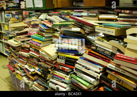 Books in Gould's secondhand bookshop on King Street, Newtown, Sydney, NSW, Australia - Stock Photo