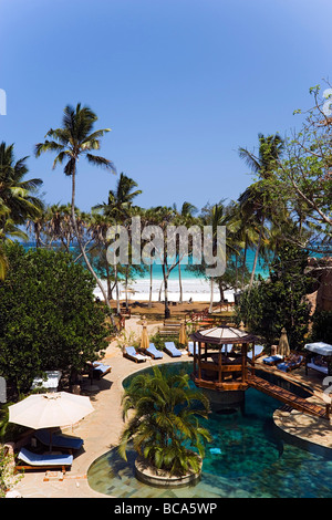 View over pool area, The Sands, at Nomad, Diani Beach, Kenya - Stock Photo
