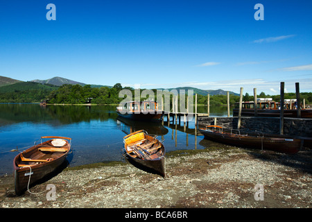 'The Keswick Landing Stages' Rowing Boats On The Lakeshore, Derwent Water The Lake District Cumbria England UK - Stock Photo