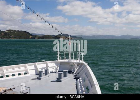 MS Bremen entering Wellington Harbour, Near Wellington, North Island, New Zealand - Stock Photo