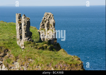 Dunseverick Castle is situated in County Antrim Northern Ireland, near the small village of Dunseverick and the - Stock Photo