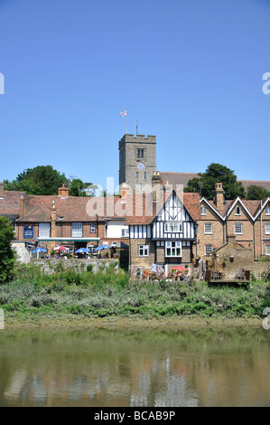 Village view across River Medway, Aylesford, Kent, England, United Kingdom Stock Photo