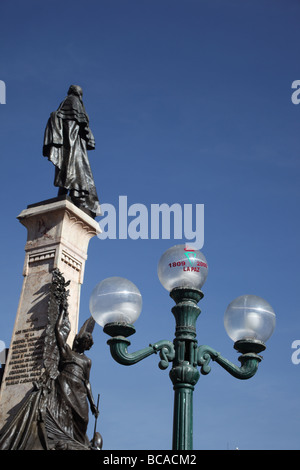 Symbol of 200th anniversary of first declaration of independence in South America on street lamp, Plaza Murillo, - Stock Photo