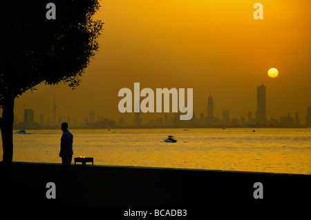 Sunset at sea side.View at Kuwait City. - Stock Photo
