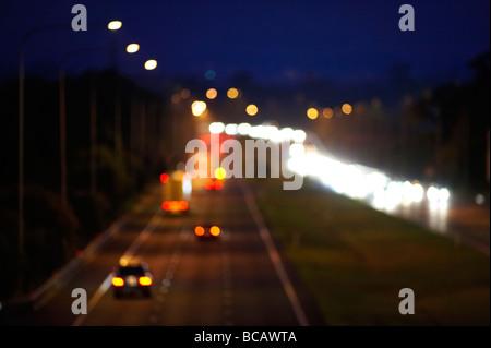 Night freeway traffic - Stock Photo