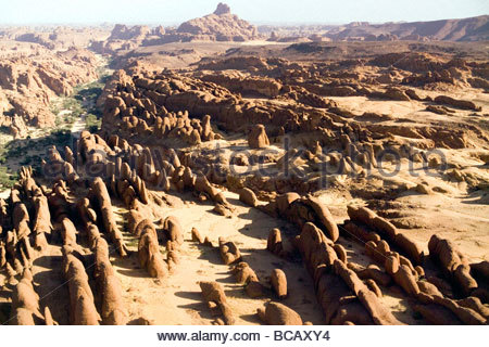 Here are the Ennedi Mountains of northeastern Chad. - Stock Photo