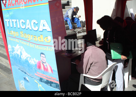 Stall to encourage people to vote for Lake Titicaca as one of The Seven Natural Wonders of the World, La Paz, Bolivia - Stock Photo