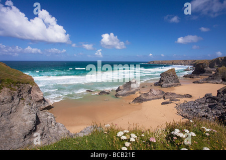 Bedruthan Steps beach and atlantic surf in summer sun Cornwall England UK United Kingdom GB Great Britain British - Stock Photo