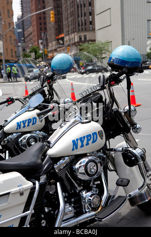 NYPD motorcycles in NYC - Stock Photo