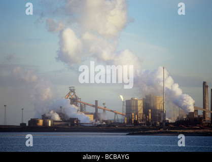 Emissions from a Corus steel plant at Redcar on Teeside UK - Stock Photo