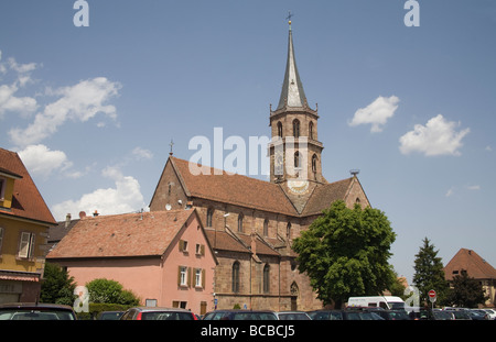 Soultz Alsace France EU St Maurice church in the centre of this former fortified city - Stock Photo
