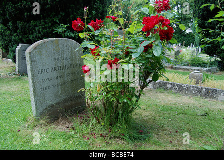 George Orwell's grave in the village of Sutton Courtenay Abingdon in Oxfordshire - Stock Photo