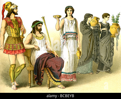The figures represent ancient Greeks: a warrior, a king, a woman of the upper class, two women in mourning. - Stock Photo