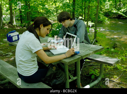 Two teens using a laptop interfaced sensor to measure the water quality of a stream - Stock Photo