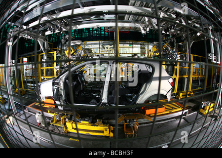 Vauxhall Car Factory production line Ellesmere Port showing Vauxhall Astras in production - Stock Photo