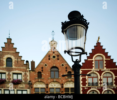 Lamp and 17th century houses in the Markt Square, Bruges, Belgium - Stock Photo