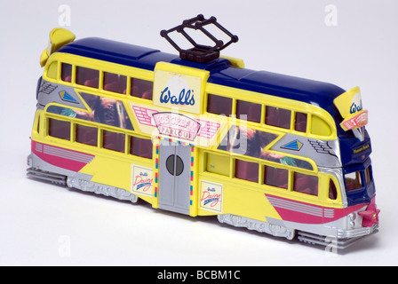 Model of 'Walls Ice Cream' Blackpool tram. - Stock Photo