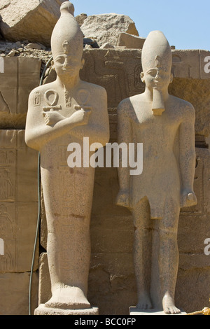 Statues of Tuthmosis III and Amenhotep II at Karnak Temple in Luxor Egypt - Stock Photo